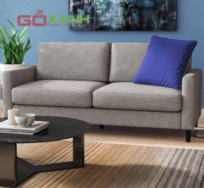 Sofa vải màu xám dành cho phòng khách nhỏ